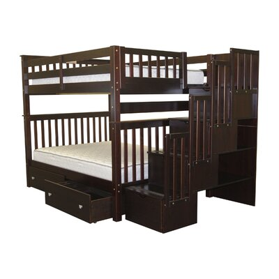 Stairway Full over Full Bunk Bed with Extra Storage Bed Frame Color: Cappuccino