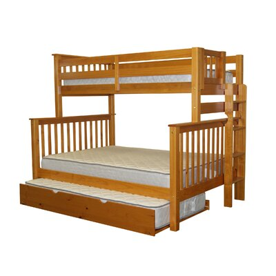 Mission Twin over Full Bunk Bed with Trundle Finish: Honey