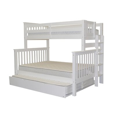 Mission Twin over Full Bunk Bed with Full Trundle Bed Frame Color: White