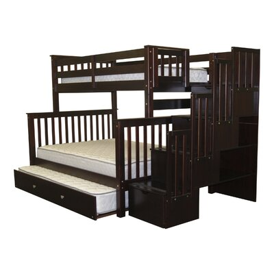 Stairway Twin over Full Bunk Bed with Storage Finish: Cappuccino