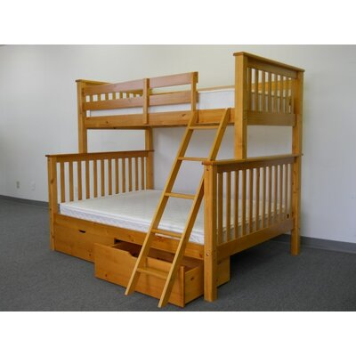 Mission Twin over Full Bunk Bed with Storage Finish: Honey