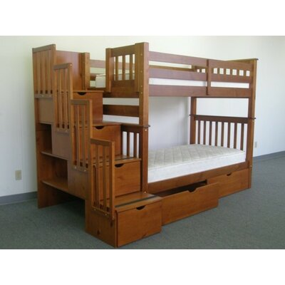 Stairway Tall Twin Over Twin Bunk Bed with Extra Storage Bed Frame Color: Espresso