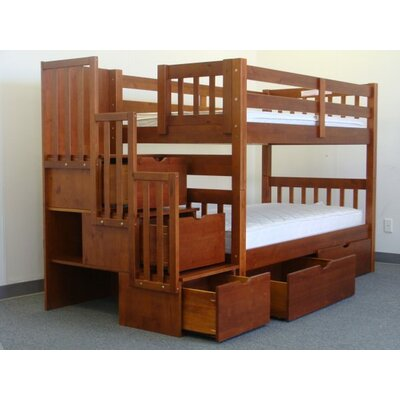 Stairway Tall Twin Bunk Bed with Storage Finish: Espresso