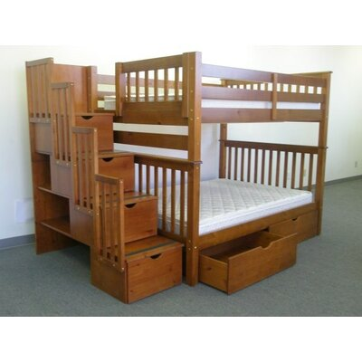Stairway Full over Full Bunk Bed with Extra Storage Bed Frame Color: Espresso