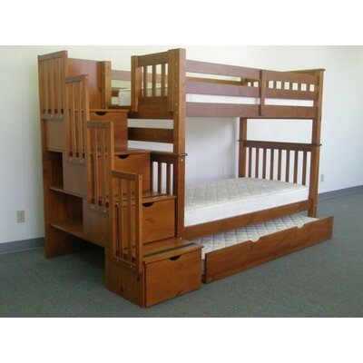 Stairway Tall Twin Over Twin Bunk Bed with Trundle Bed Frame Color: Espresso