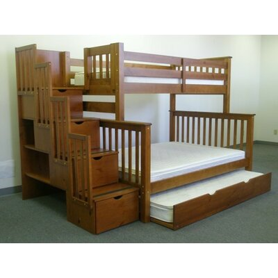 Stairway Twin over Full Bunk Bed with Trundle Finish: Espresso
