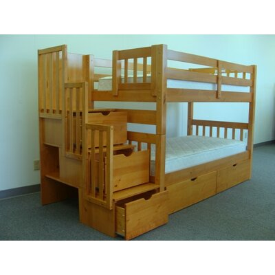 Stairway Twin over Twin Bunk Bed with Extra Storage Bed Frame Color: Honey