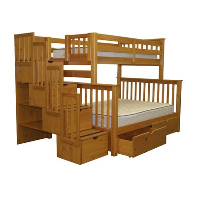 Stairway Twin over Full Bunk Bed with Storage Finish: Honey