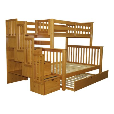 Stairway Twin over Full Bunk Bed with Full Trundle Bed Frame Color: Honey