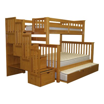Stairway Twin over Full Bunk Bed with Trundle Finish: Honey
