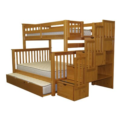 Stairway Tall Twin over Full Bunk Bed with Trundle