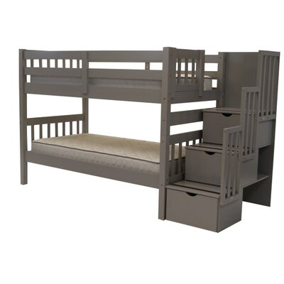 Stairway Twin over Twin Bunk Bed with Extra Storage Bed Frame Color: Gray