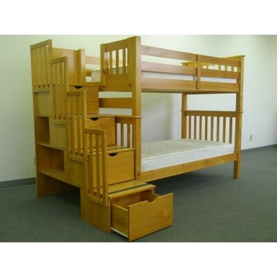 Stairway Tall Twin over Twin Bunk Bed with Storage Finish: Honey