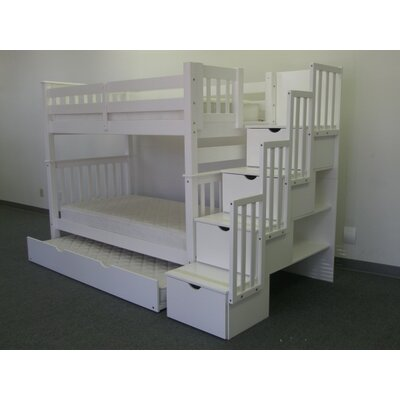 Stairway Tall Twin Over Twin Bunk Bed with Storage Finish: White