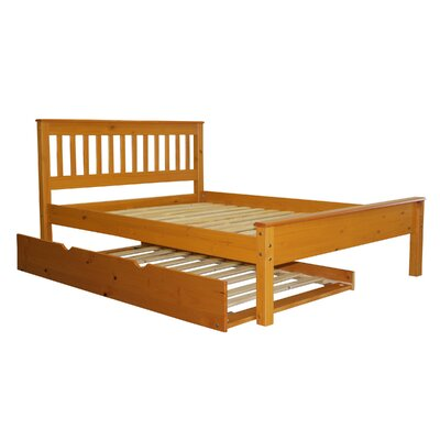 Mission Full Slat Bed with Trundle Bed Frame Color: Honey