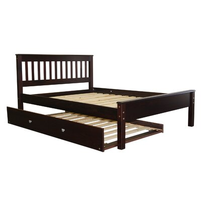 Mission Full Slat Bed with Trundle Color: Cappuccino