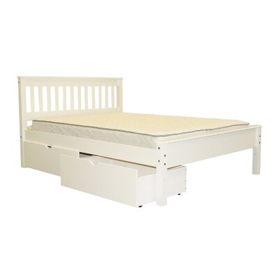 Mission Full Slat Bed with Storage Bed Frame Color: White