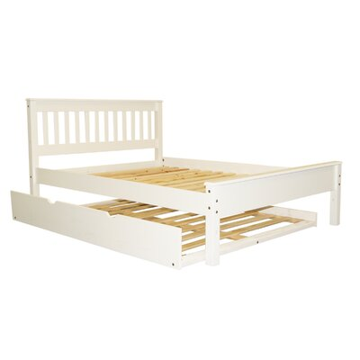 Mission Full Slat Bed with Trundle Color: White