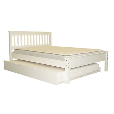 Mission Full Slat Bed with Full Trundle Bed Frame Color: White
