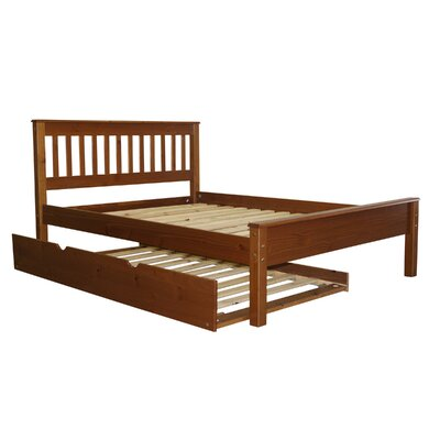 Mission Full Slat Bed with Trundle Bed Frame Color: Espresso