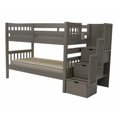 Stairway Tall Twin Over Twin Bunk Bed with Storage Finish: Grey