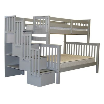 Stairway Twin over Full Bunk Bed with Storage Color: Gray