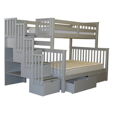 Stairway Twin over Full Bunk Bed with Storage Finish: Gray