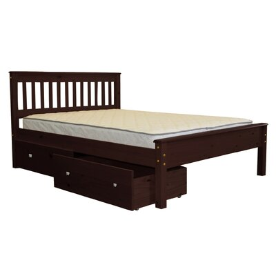 Mission Full Slat Bed with Storage Bed Frame Color: Cappuccino