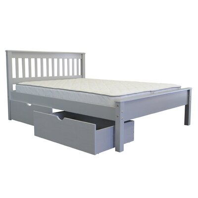 Mission Full Slat Bed with Storage Bed Frame Color: Gray