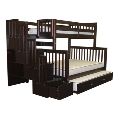 Stairway Twin over Full Bunk Bed with Trundle Finish: Cappuccino
