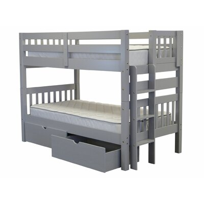 Mission Twin over Twin Bunk Bed with Storage Finish: Gray