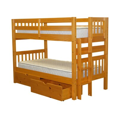 Mission Twin over Twin Bunk Bed with Storage Bed Frame Color: Honey