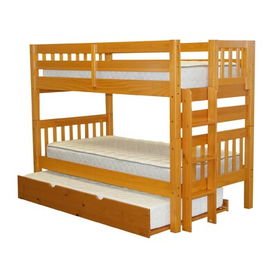 Twin over Twin Bunk Bed with Trundle Finish: Honey