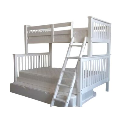 Twin over Full Bunk Bed with Trundle Finish: White