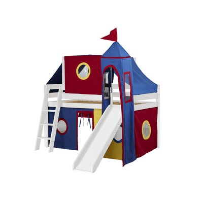 Kids Fun Castle Twin Low Loft Bed Finish: White, Accessory Finish: Red/Yellow