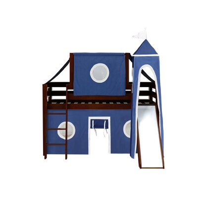Kids Fun Castle Twin Low Loft Bed Finish: Cherry, Accessory Finish: Blue