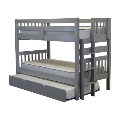 Twin over Twin Bunk Bed with Trundle Finish: Gray
