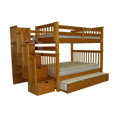 Stairway Tall Full over Full Bunk Bed with Trundle