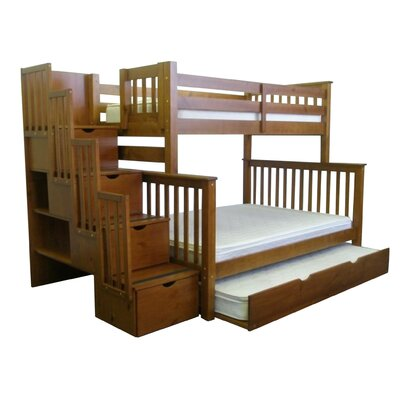 Stairway Twin over Full Bunk Bed with Full Trundle Bed Frame Color: Espresso
