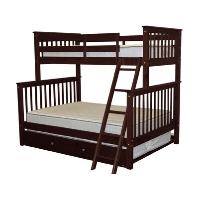 Twin over Full Bunk Bed with Trundle Finish: Cappuccino