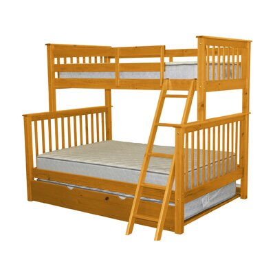 Twin over Full Bunk Bed with Trundle Finish: Honey