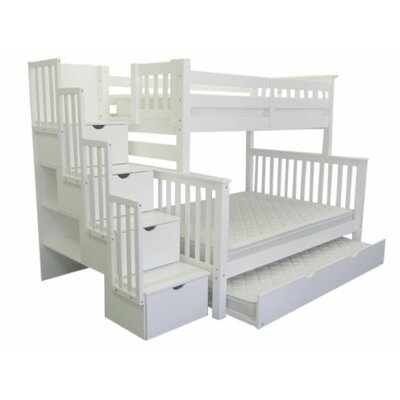 Stairway Twin over Full Bunk Bed with Full Trundle Bed Frame Color: White