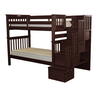 Stairway Tall Twin over Twin Bunk Bed with Storage Bed Frame Color: Cappuccino