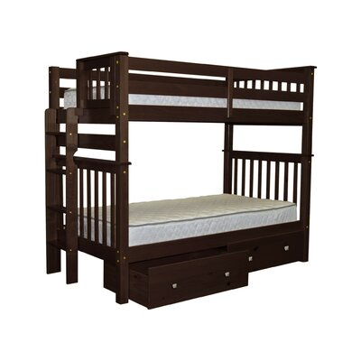 Mission Tall Twin Bunk Bed with Storage Finish: Cappuccino