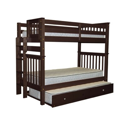 Mission Tall Twin over Twin Bunk Bed with Trundle Bed Frame Color: Cappuccino