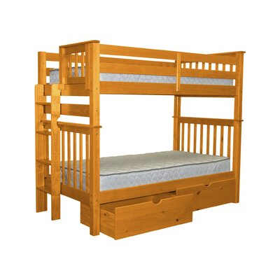 Mission Tall Twin Over Twin Bunk Bed with Storage Bed Frame Color: Honey