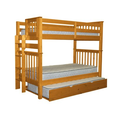 Mission Tall Twin over Twin Bunk Bed with Trundle Bed Frame Color: Honey