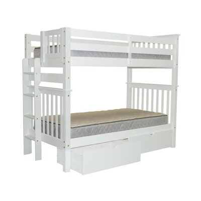 Mission Tall Twin Bunk Bed with Storage Finish: White