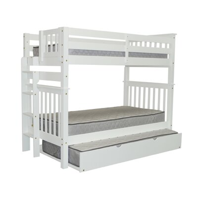 Mission Tall Twin over Twin Bunk Bed with Trundle Finish: White