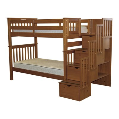 Stairway Tall Twin over Twin Bunk Bed with Storage Bed Frame Color: Espresso